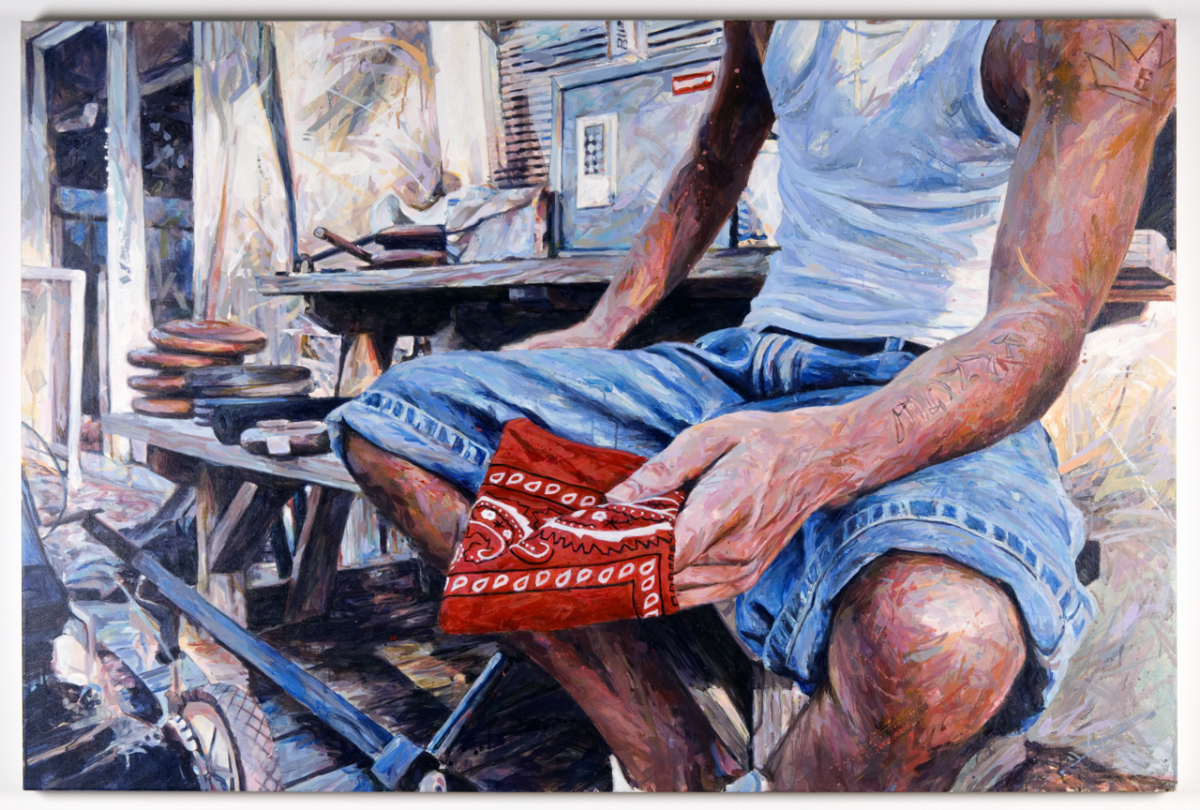 "MICHAEL VASQUEZ  ""The Acceptance"" 2009  acrylic on canvas  48 x 72"""
