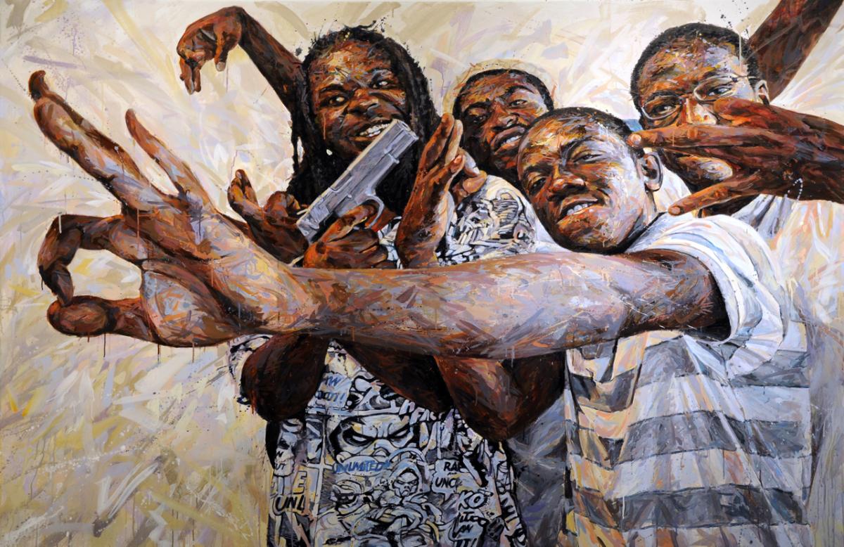 """MICHAEL VASQUEZ  """"Zombies"""" 2009  acrylic on canvas  72 x 96"""""""