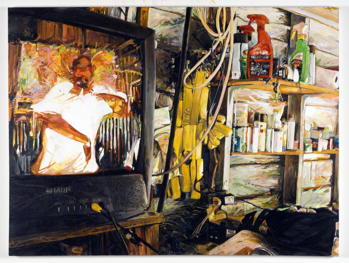 "MICHAEL VASQUEZ  ""My Friend's Dad's Garage"" 2009  acrylic on canvas  36 x 48"""