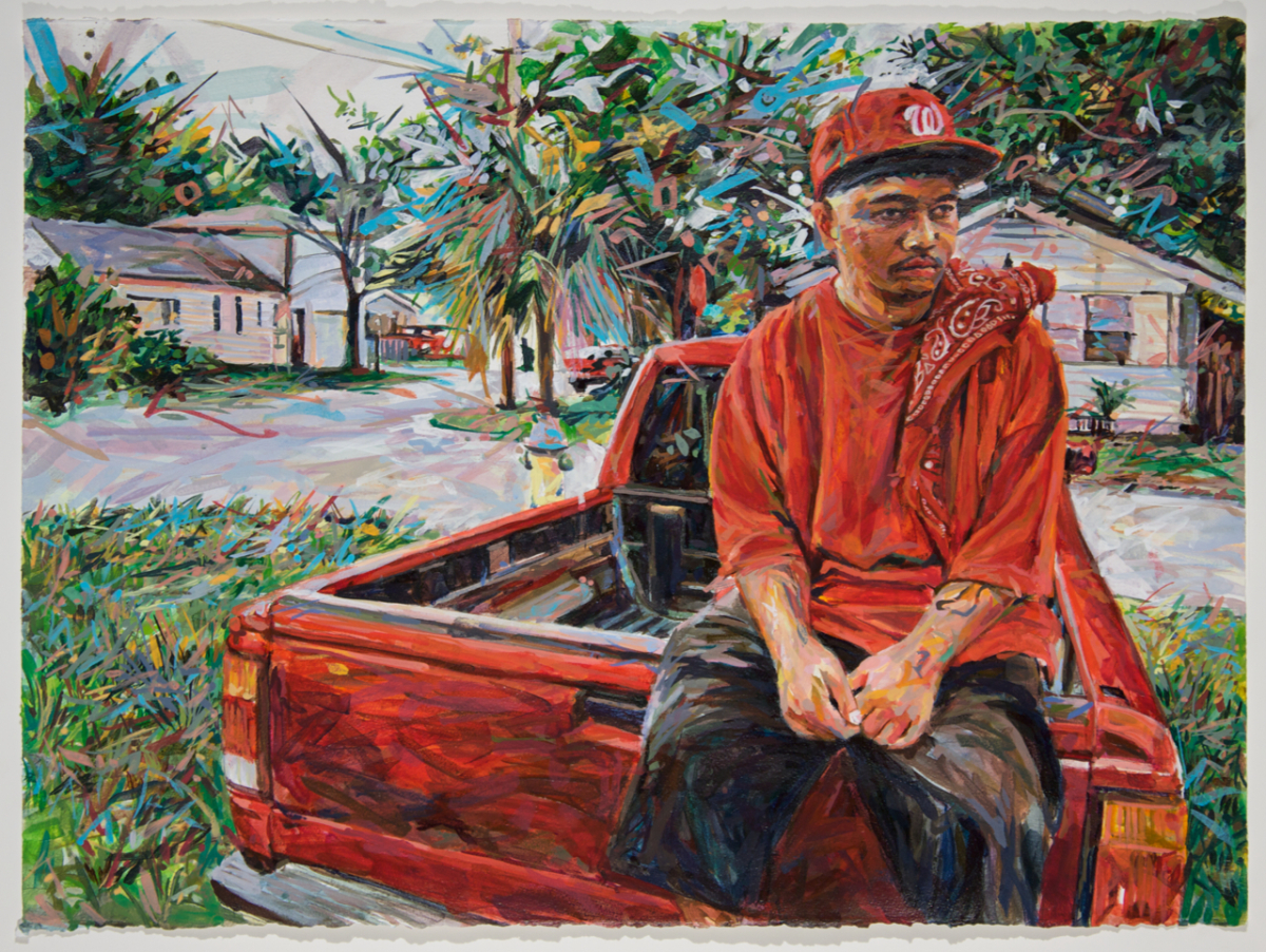"MICHAEL VASQUEZ  ""It's All Mine"" 2010  acrylic on paper  22 x 30"""