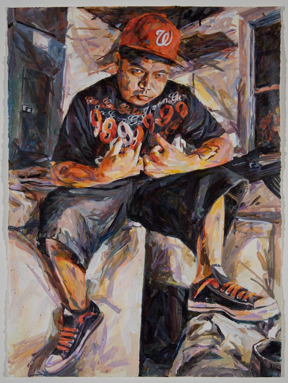 "MICHAEL VASQUEZ  ""Garage Post"" 2010  acrylic on paper  30 x 22"""