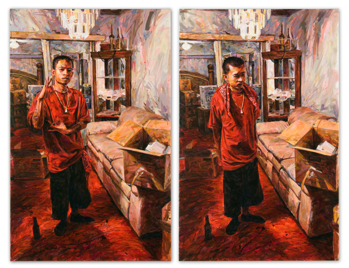 "MICHAEL VASQUEZ  ""The New Red Carpet"" 2009  acrylic on canvas  Diptych 40 x 30"" each"