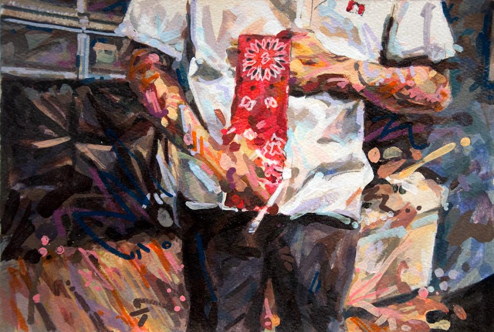 "MICHAEL VASQUEZ  ""Color Presentation"" 2010  acrylic and paint marker on paper  7.5 x 11"""
