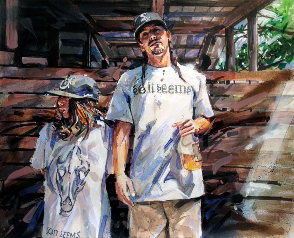 "MICHAEL VASQUEZ  ""Father & Son Portrait - AJ & Ant"" 2013  acrylic and marker on paper  11 x 14"""