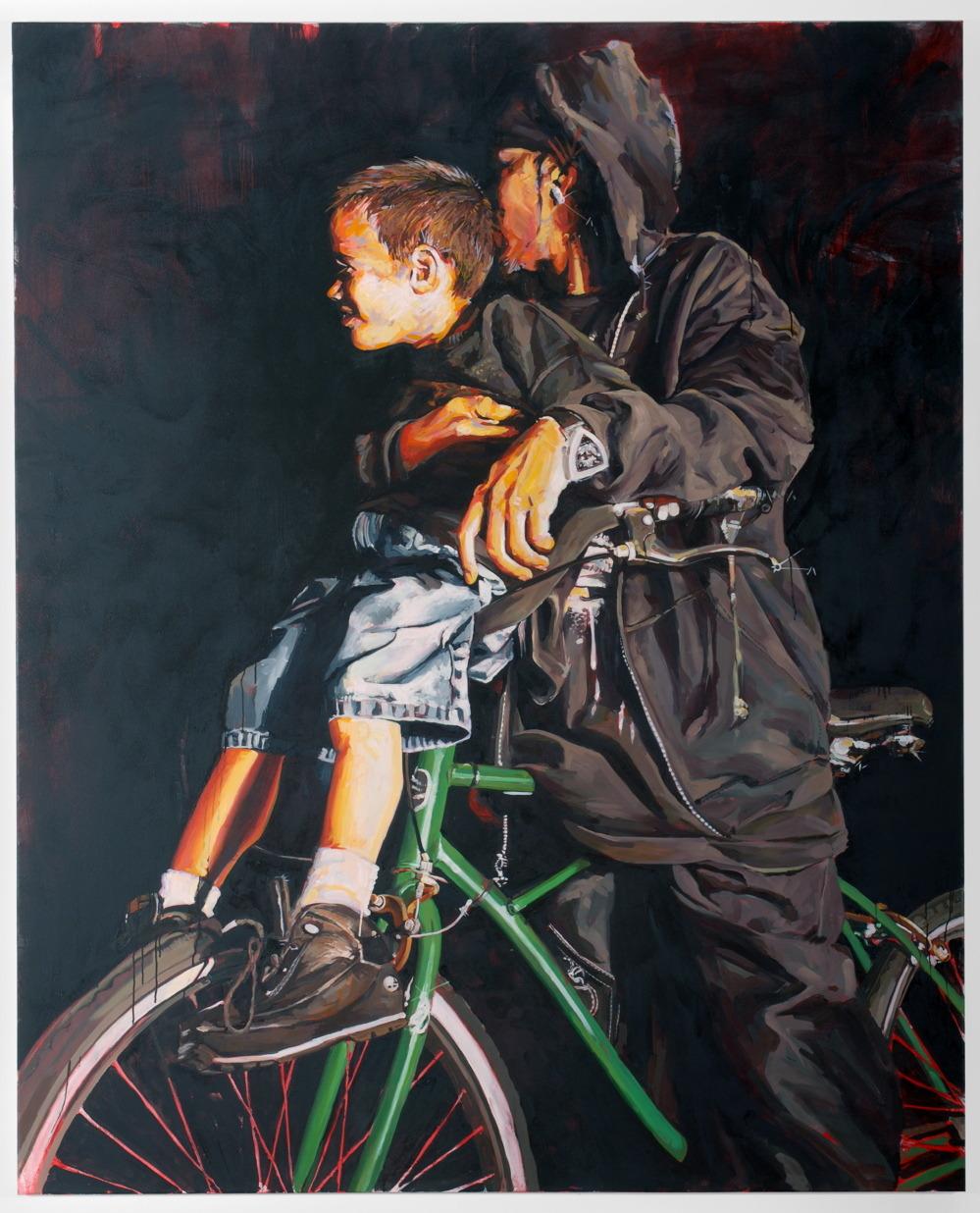 """MICHAEL VASQUEZ    """"The Neighborhood Tour"""" 2007    acrylic, oil, and spray paint on canvas    96 x 78"""""""