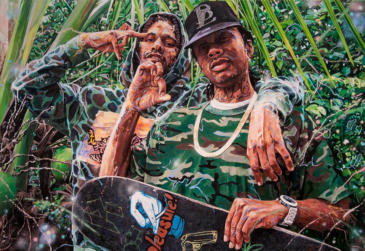 "Michael Vasquez ""CSPG : Southway Zoo - Tropical Boyz"" 2016 acrylic and acrylic spray paint on canvas 58 x 84"""