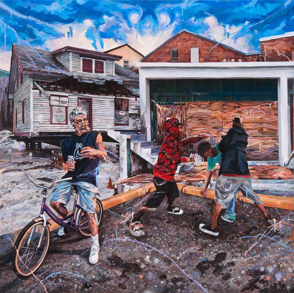 """Michael Vasquez """"The Flood Out (KingTide)"""" 2017 acrylic and acrylic spray paint on canvas 48 x 48"""""""