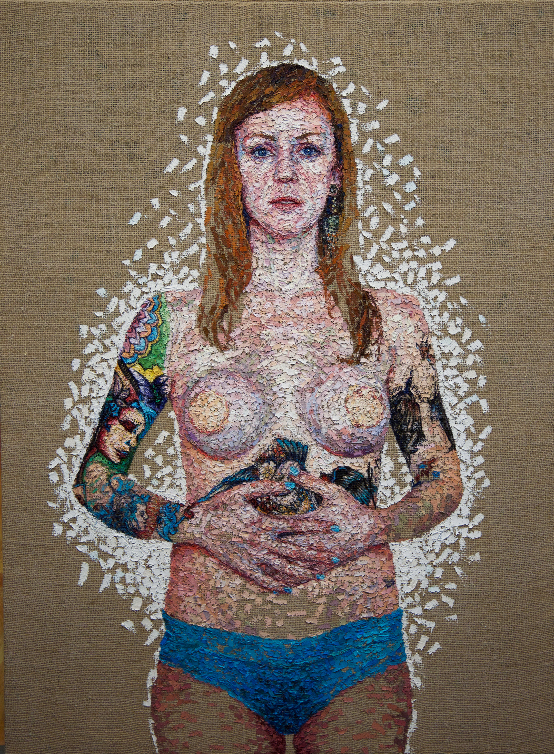 Kiley Ames | Reconstruction, Oil on Burlap.