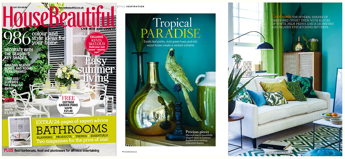 Fanny Shorter House Beautiful Magazine Press 2015 Home Style Interiors Cushions Print Pattern Tropical Paradise UK British Interior Design Green Blue