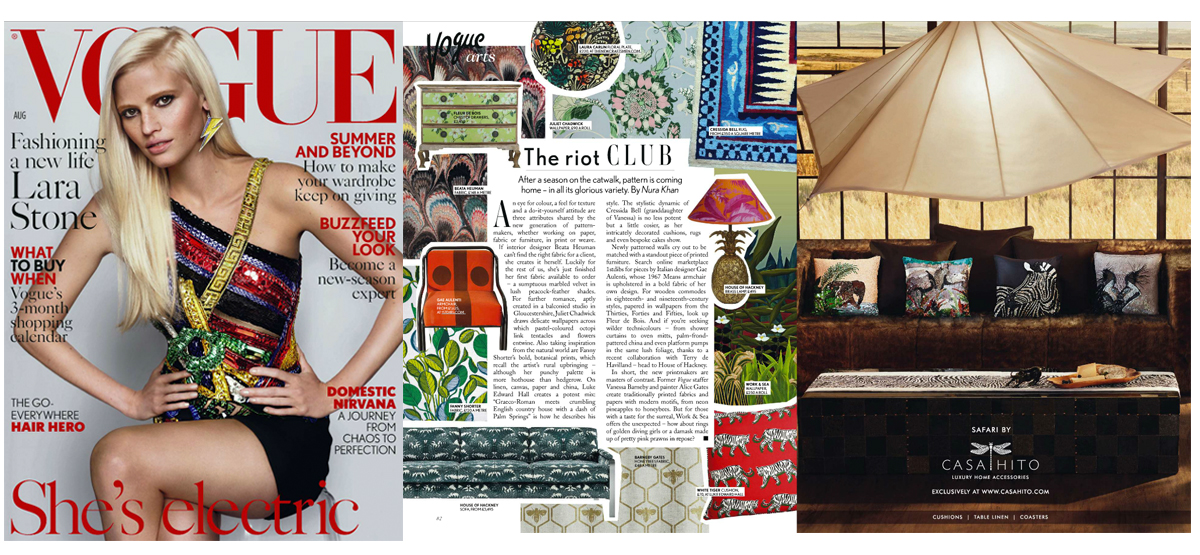 Fanny Shorter Press British Vogue 2015 Nura Khan Fabric Upholstery Calathea Hand Printed The Riot Club Luke Edward Hall House of Hackney Cressida Bell Home