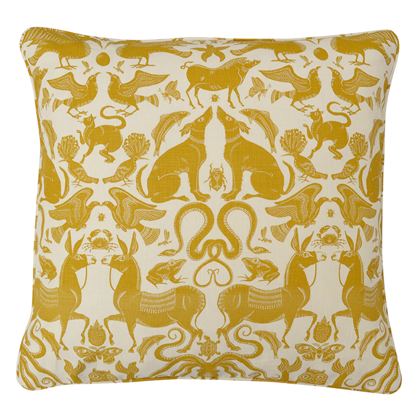 BIRDS & BEASTS Large Cushion | Sand