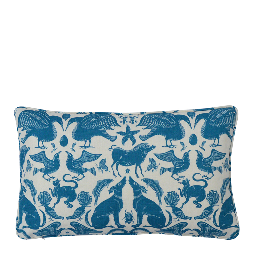 BIRDS & BEASTS Small Cushion | Marine