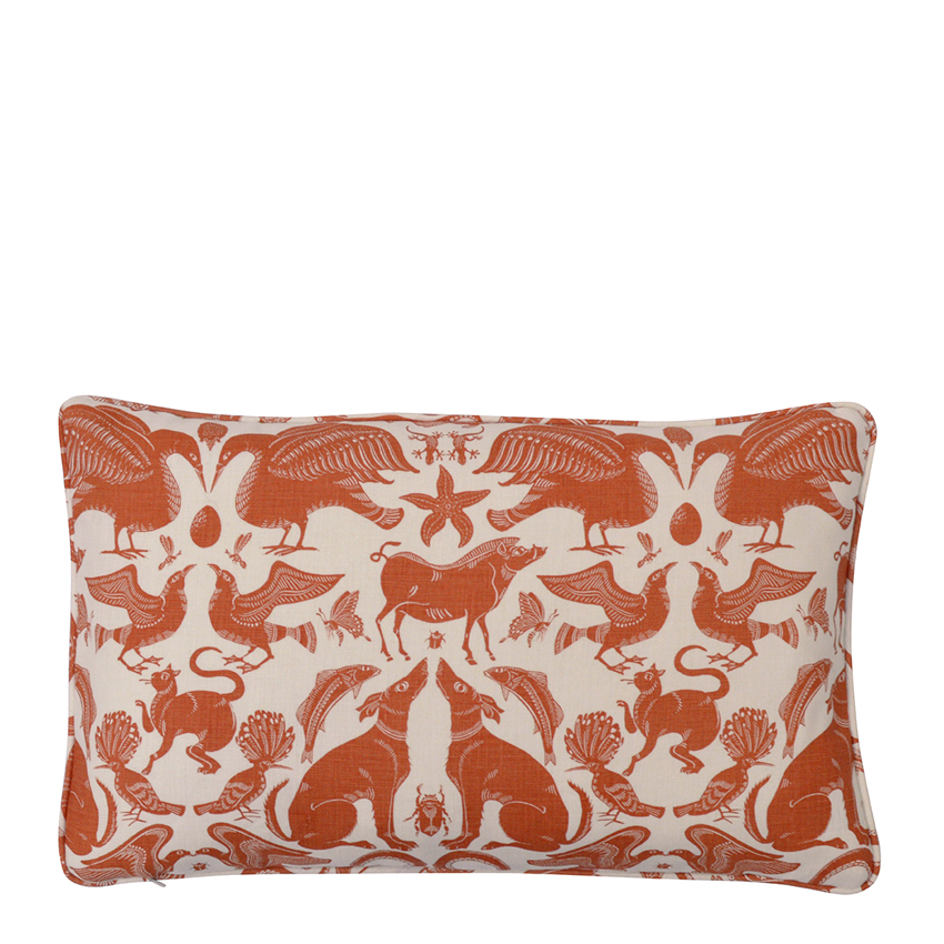 BIRDS & BEASTS Small Cushion | Terracotta