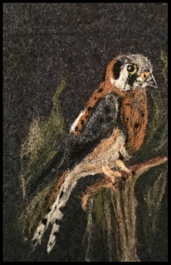I needle felted this Kestrel on the front of a large bag that I designed out of a felted and boiled wool jacket. On the opposite side of the bag, a kestrel feather floats (also needle felted by me)