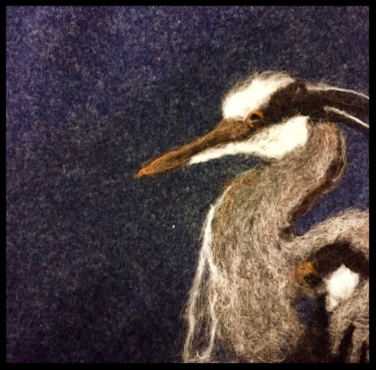 Great Blue Heron. All the animals that I needle felt onto my bags are local species.