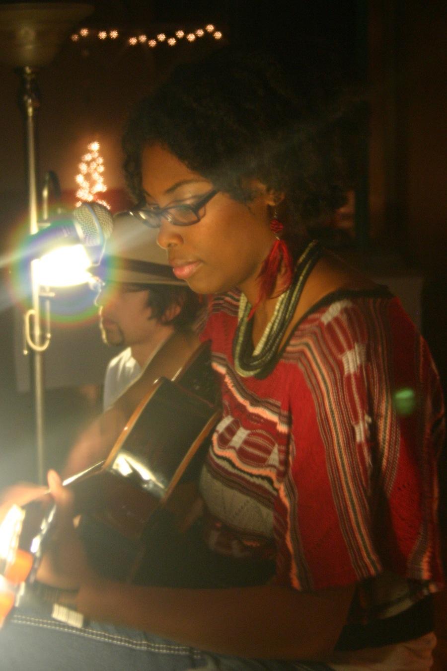 Anitra Jay performing at a Listening Party in Lynchburg, VA.