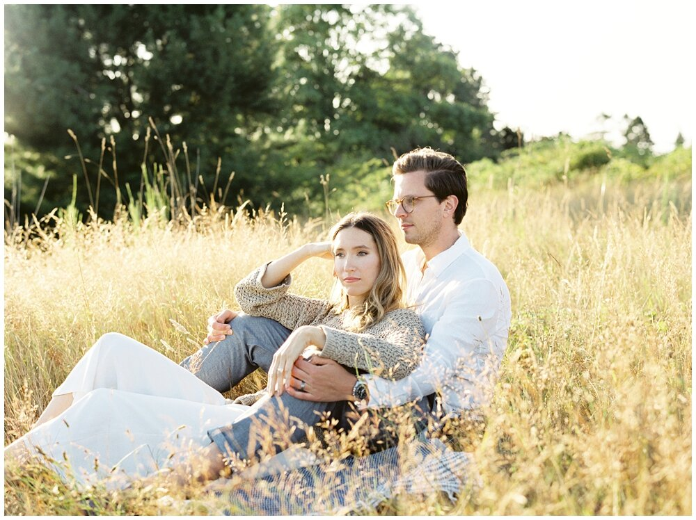 Pregnancy Announcement Portraits at Discovery Park in Seattle