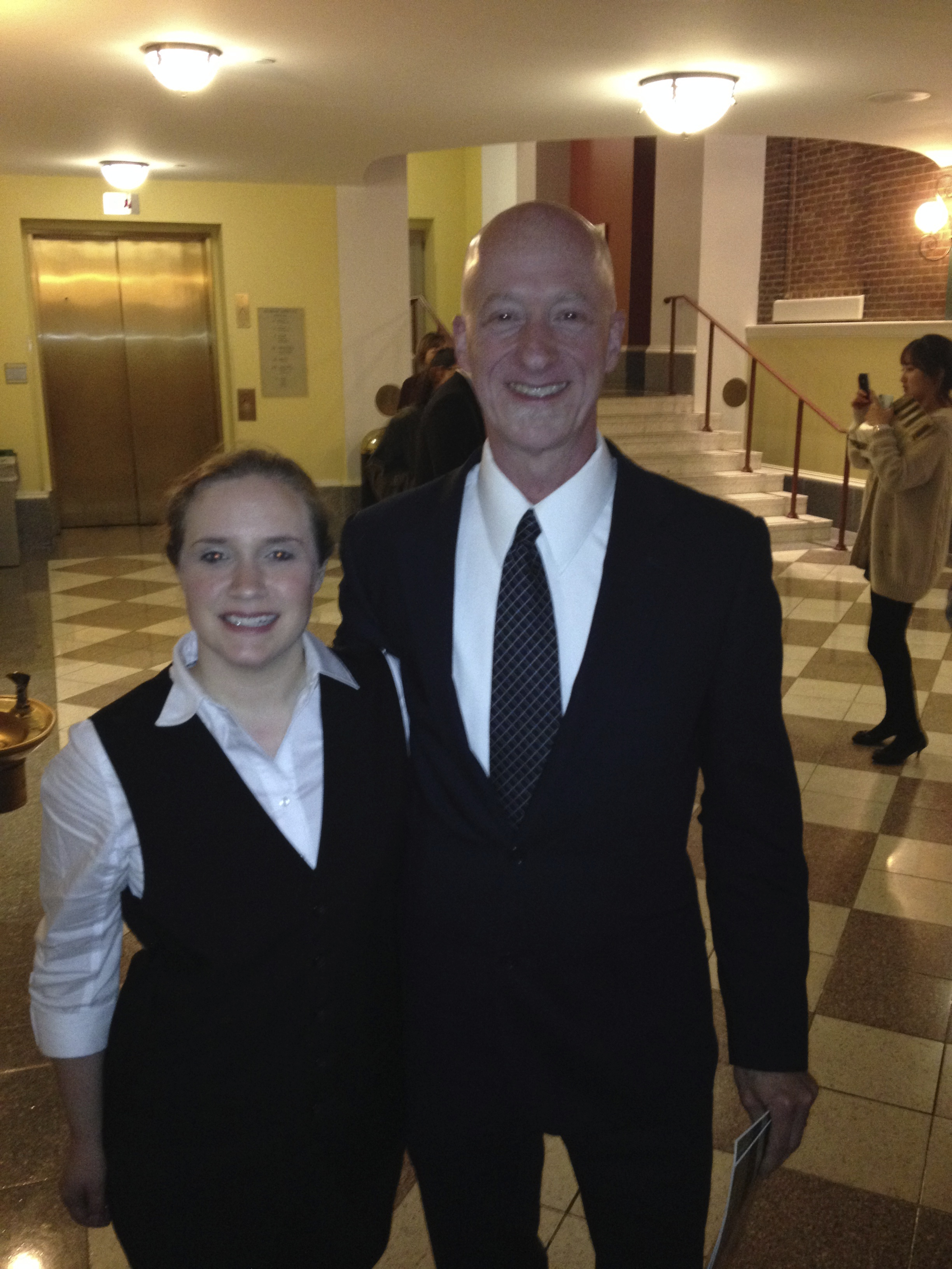 With husband Peter Gregory at  L'Incoronazione di Poppea , Peabody Conservatory, October 2013