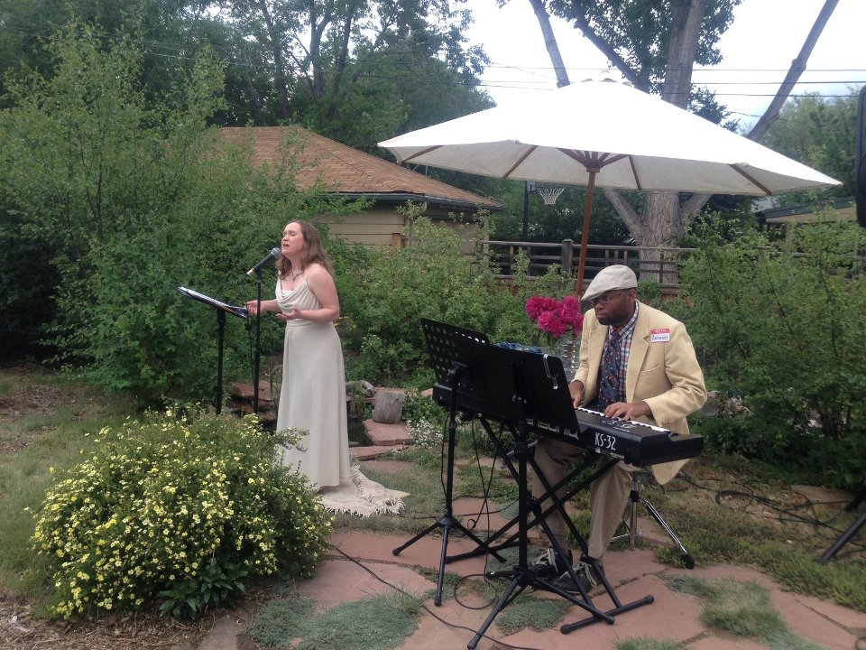 In recital with pianist Anthony Green, June 2012, at the home of acupuncturist Jeanette Rockers, Denver (Fundraiser for the Colorado Alzheimer's Association)