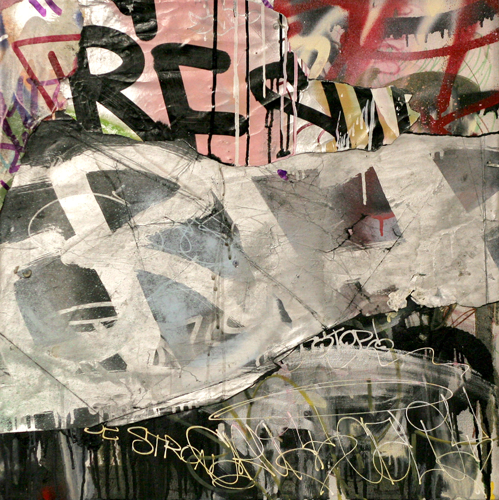 Rebel Without a Pause, Mixed Media on Canvas, 24in x 24in  ©2013 Mint&Serf