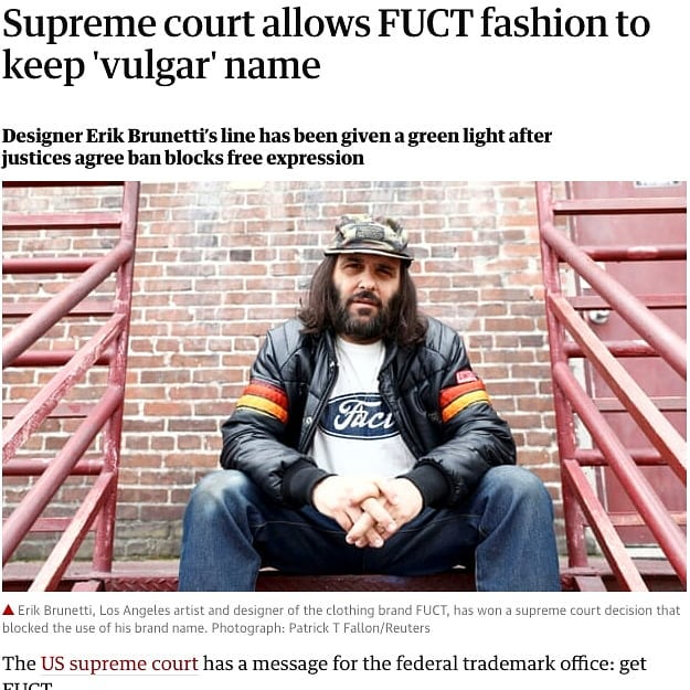 "A MAJOR WIN FOR AN OG @erik.brunetti  @fuct and a little thing called FREEDOM OF EXPRESSION 🤘🤘🤘🤘🤘🤘🤘🤘🤘🤘🤘🤘🤘🤘🤘🤘🤘 ""Brunetti's lawyer hailed the decision in a news release, acknowledging that ""many Americans are uncomfortable with Brunetti's trademark"". But ""the question is whether any government gets to impose its views about what is moral and suppress those if finds distasteful. That is a road that we, as Americans, should not go down.""- @guardian"
