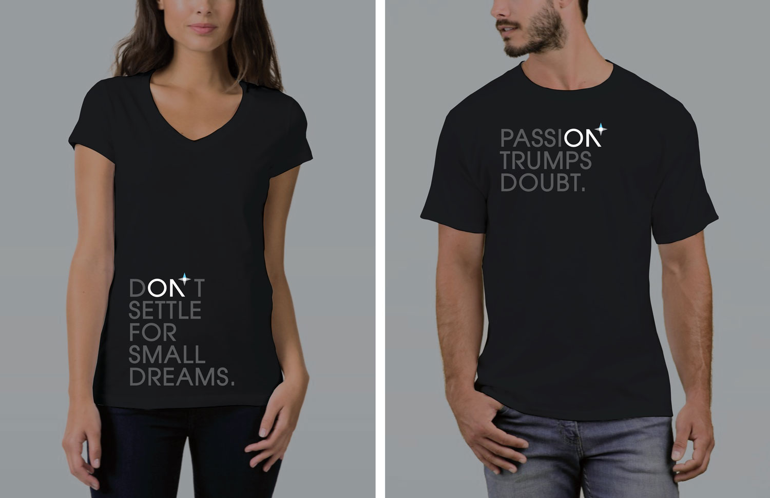 A series of inspiring promotional t-shirts