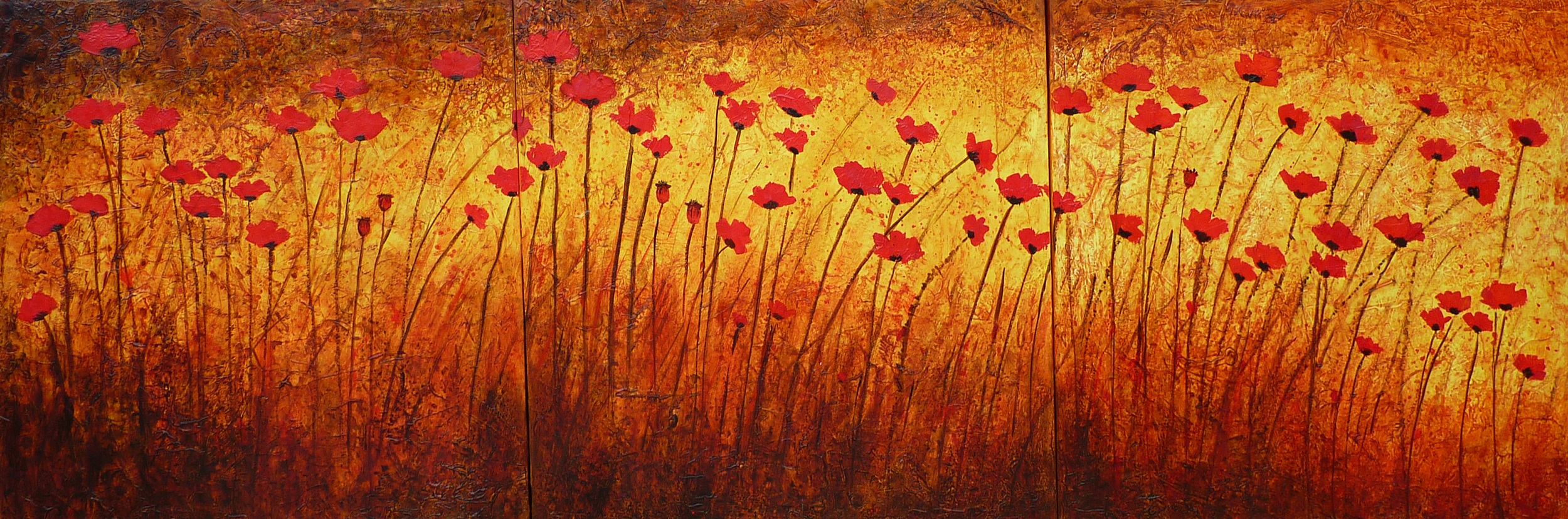 Poppies in the Wild Acrylic 36 x 108 Triptych