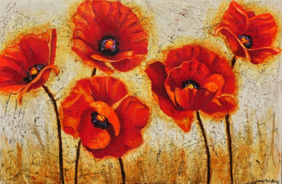 Poppy Family Acrylic 40 x 60 SOLD