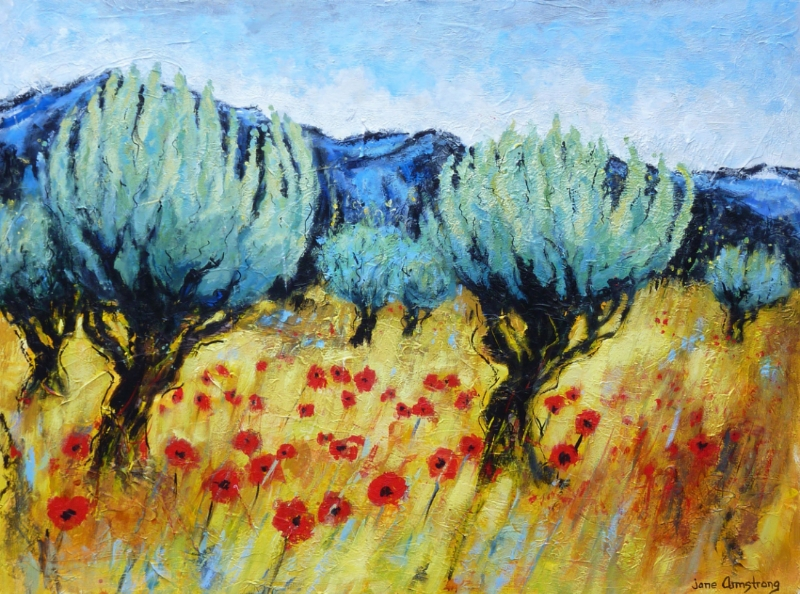 Amongst the Olive Grove Acrylic 36 x 48 SOLD