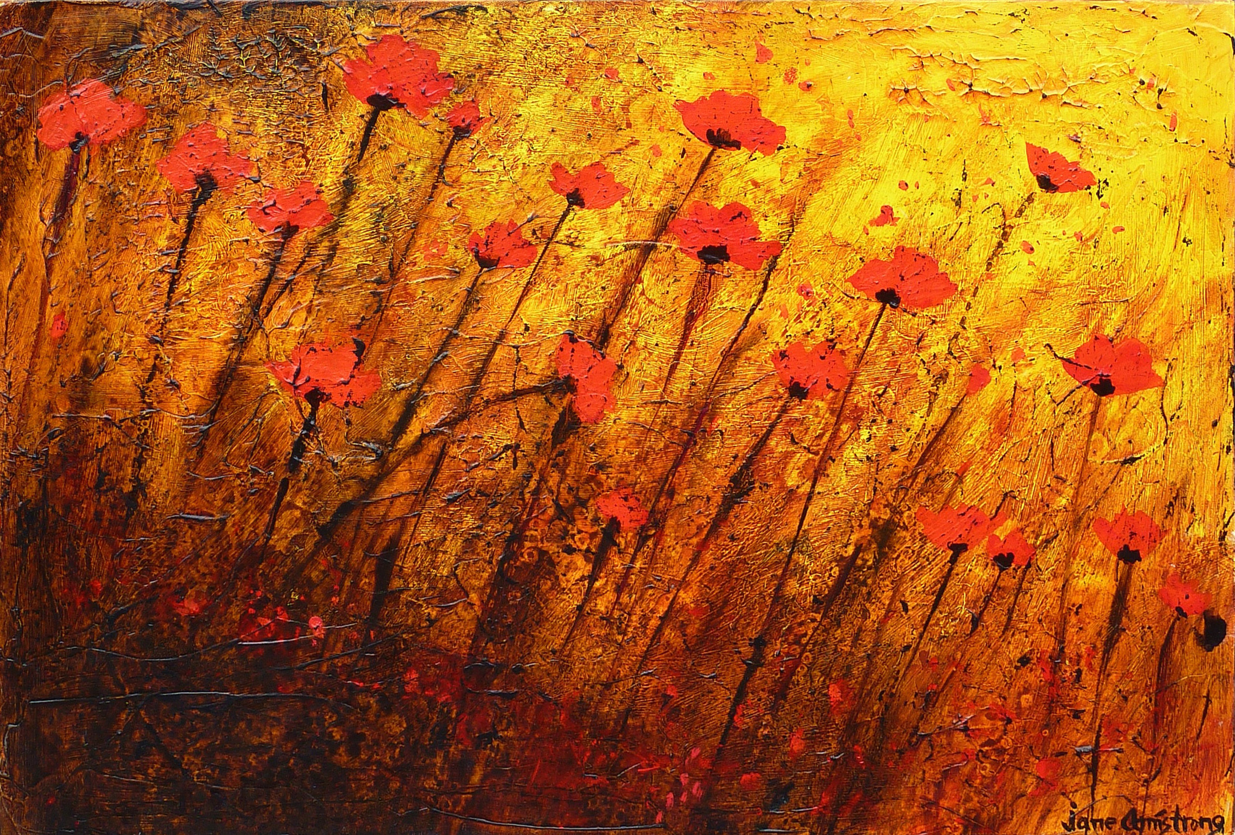 Poppies in the Wild Acrylic 24 x 30