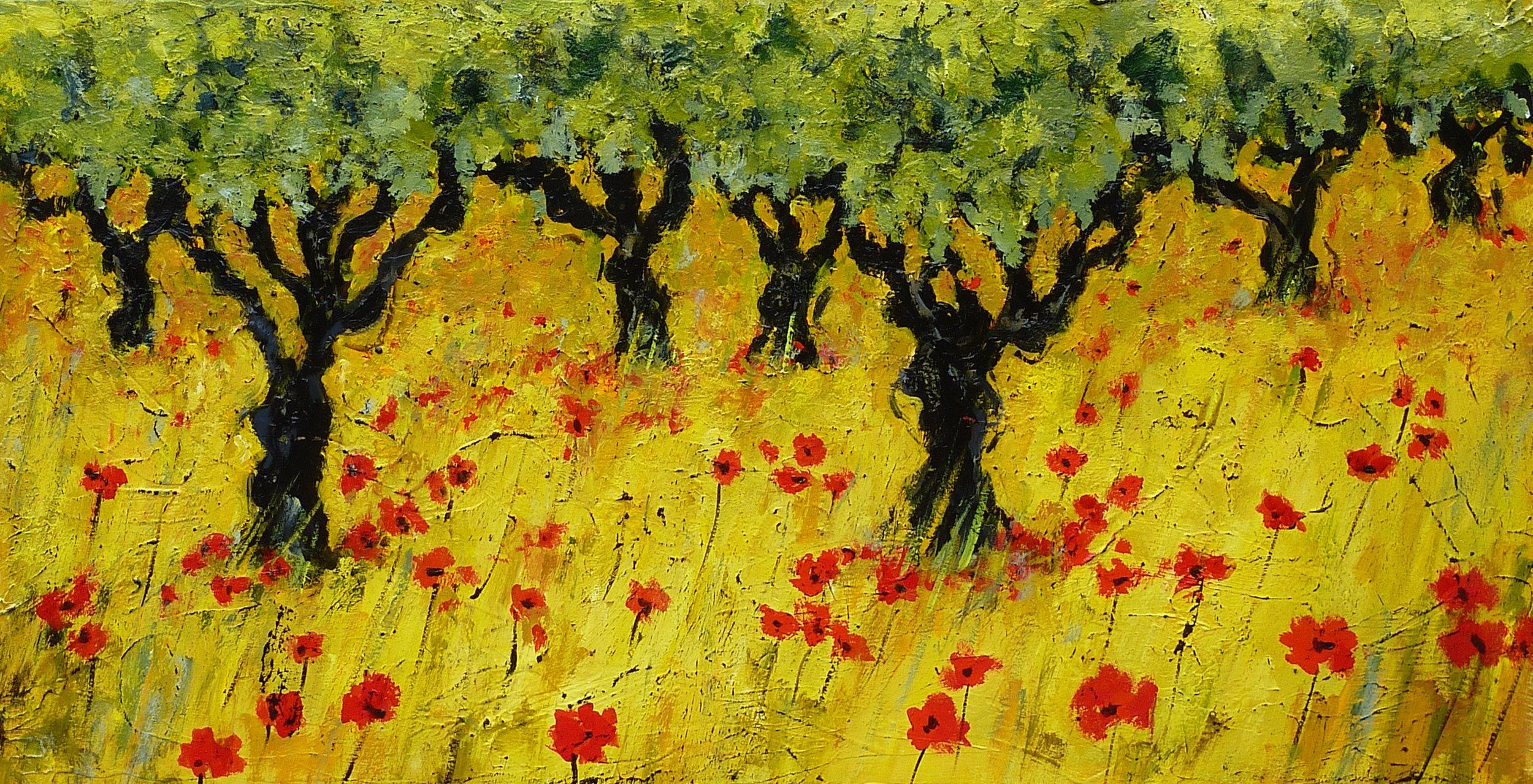Vineyards in the Minervois Acrylic 18 x 36