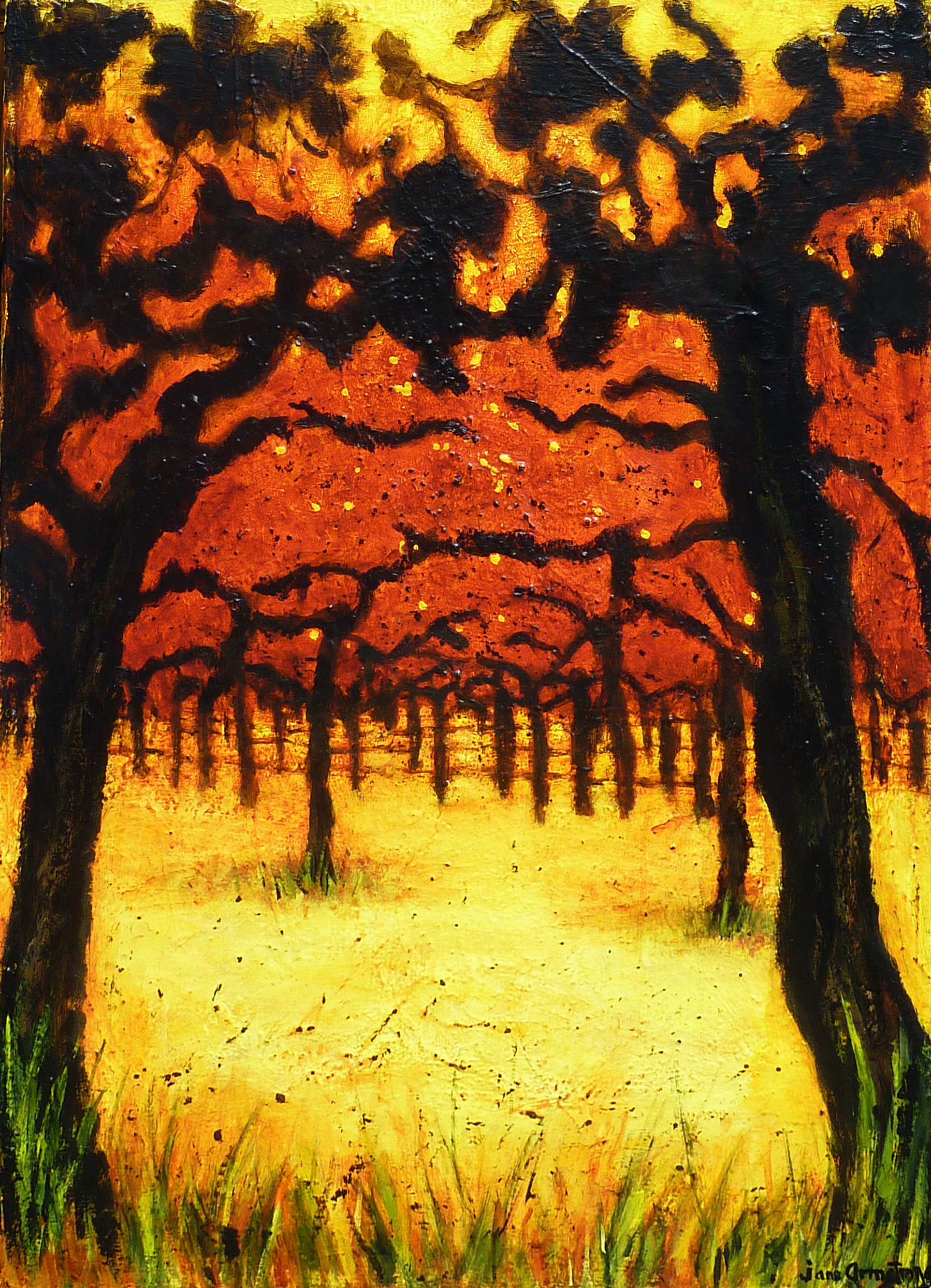 Sundown in the Orchard 40 x 30 Acrylic