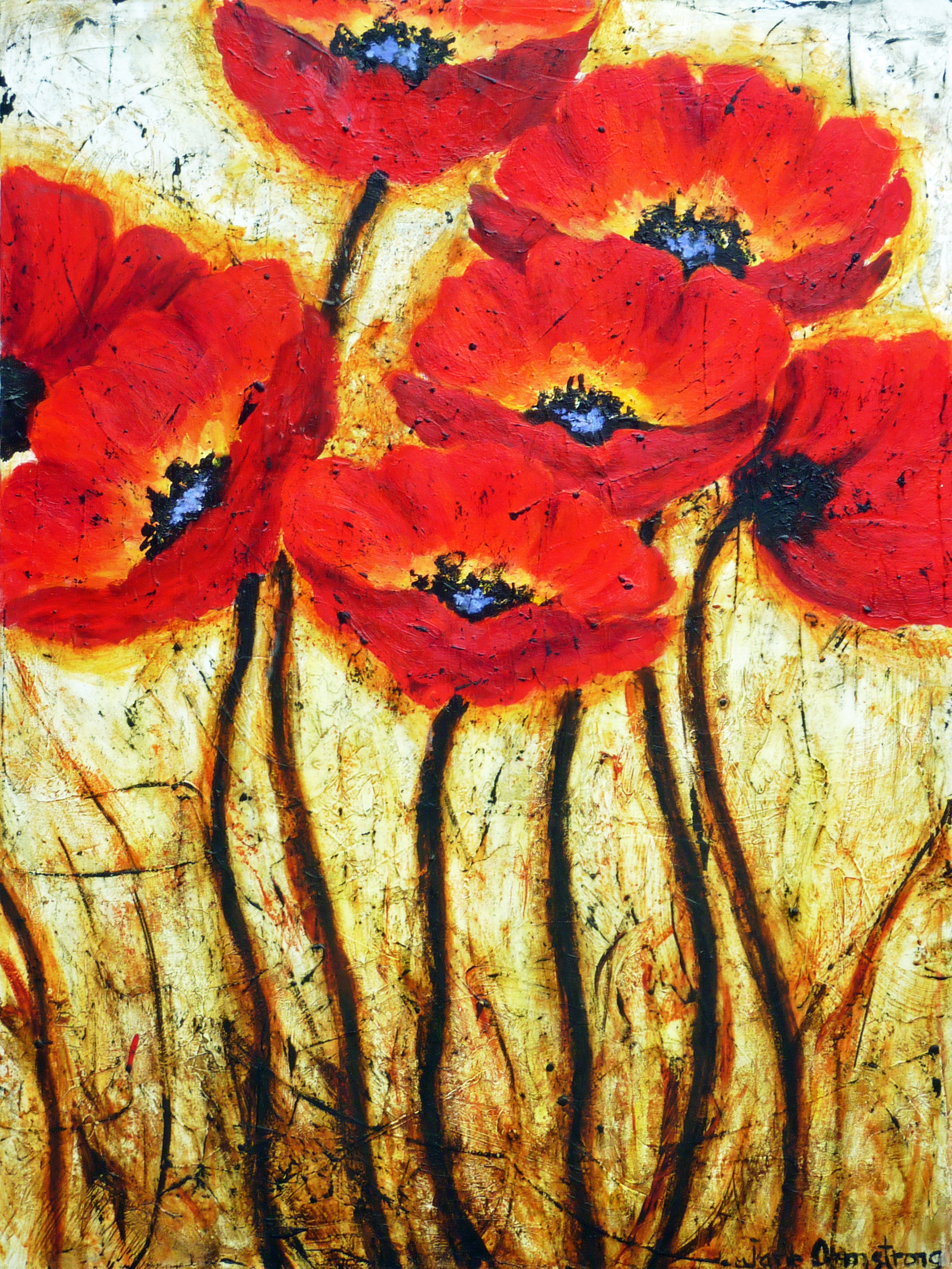 Dance of the Poppies 40 x 30 Acrylic