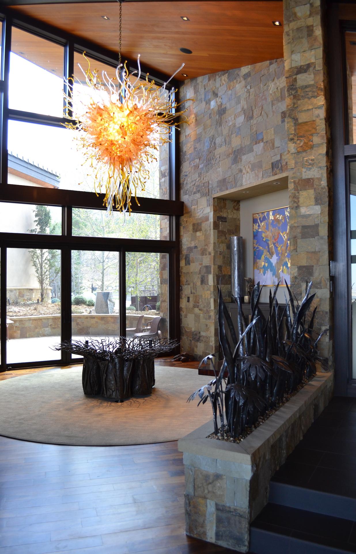 NEST ELM TREE TABLE + SANSAVARIA AND FERN SCULPTURE + CABINET HANDLES