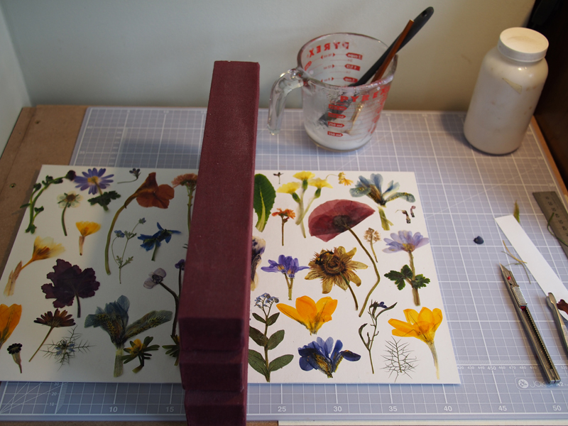 Pasting flowers to the spine