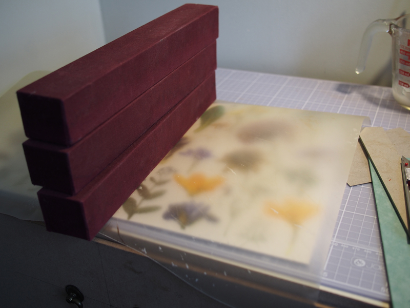 Pasting vellum to the spine