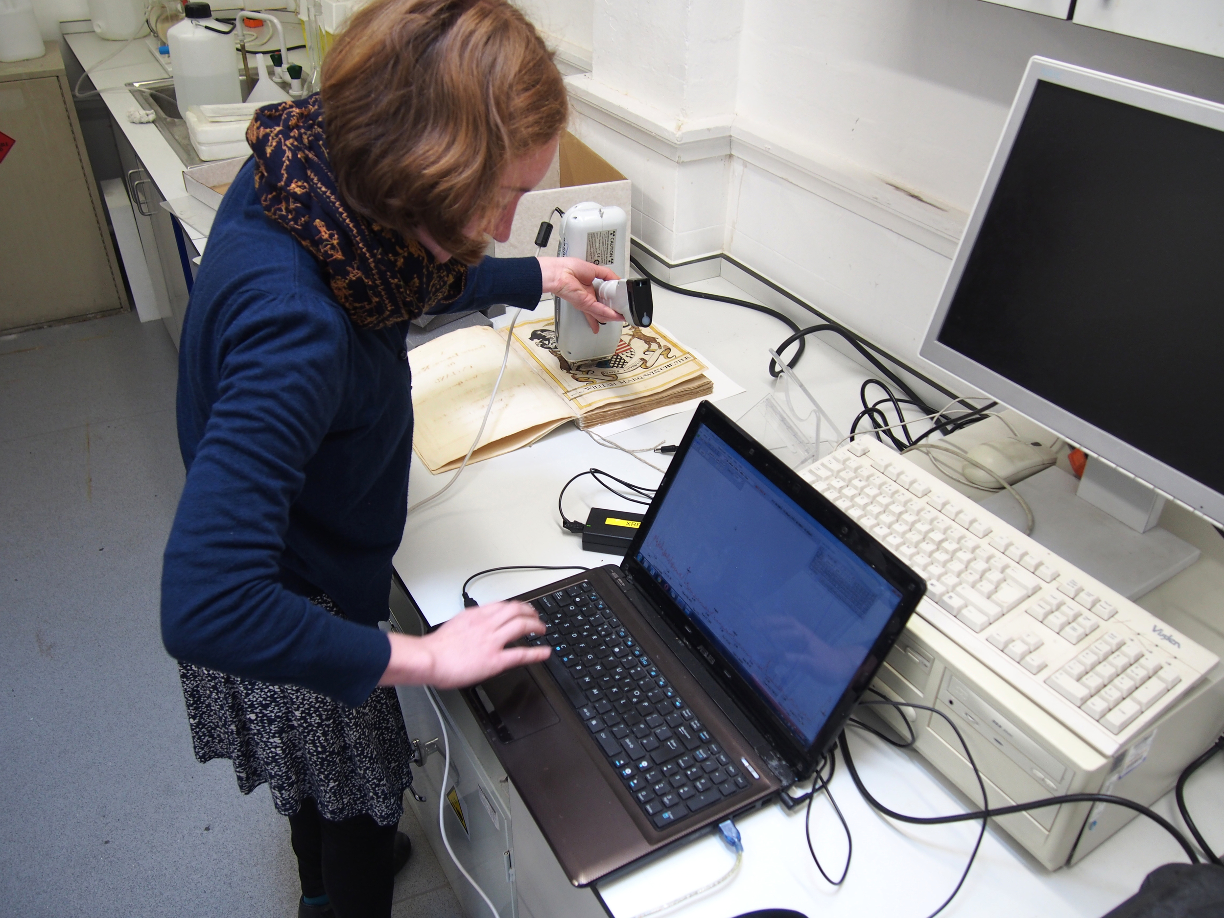 Nikki was trying to distinguish between orpiment and one of the lead-based yellows on her manuscript