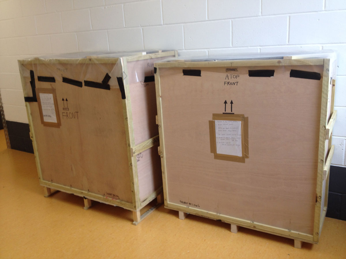 All crated up and ready for transportation back to Erddig.