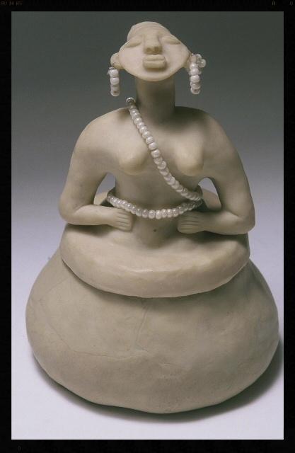 "Sistah Azalea. SHE POT Clay Sculpture.(c) Kaitha Het Heru. 10""H. Fimo Oven-Fired Clay. Bead Adornment"
