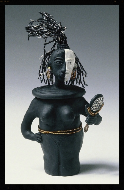 """Self-Reflection. SHE POT Clay Sculpture. (c) Kaitha Het Heru. 10""""H. Fimo Oven-Fired Clay. Yarn, Beads, Glass Adornments.  SOLD."""