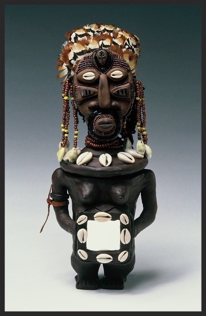 """Guardian Spirit of The Four Directions. SHE POT Clay Sculpture. (c) Kaitha Het Heru. 12""""H.  Kiln Fired. Feathers. Cowrie Shells. Mirror. Bead Adornments. SOLD."""