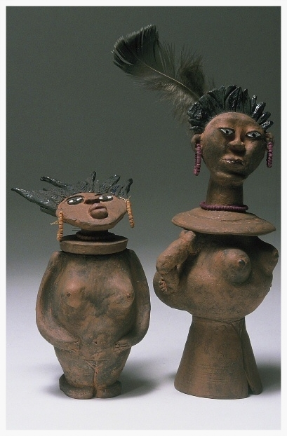 Lil' Sis, Big Sis. SHE Pot Clay Sculpture. (c) Kaitha Het Heru. Clay. Kiln Fired.