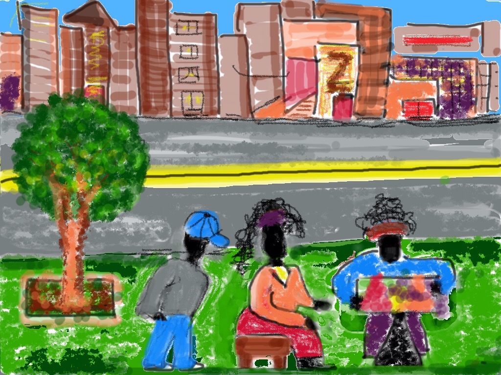 SUMMER TIME; NEW YOK CITY STREET VENDORS. Kaitha Het Heru. Pochade. Quick Sketch. Colored Pencils. Markers. Fine Art Print. The Master Peace Collection. A Woman's Work: My Art & My Textiles.