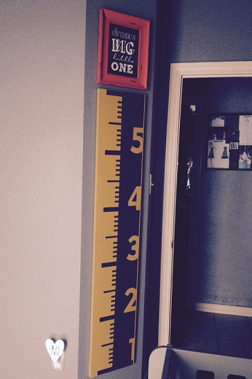 Thank you Lisa for sharing this pic of your completed project using our Ruler Growth Chart wall decal.