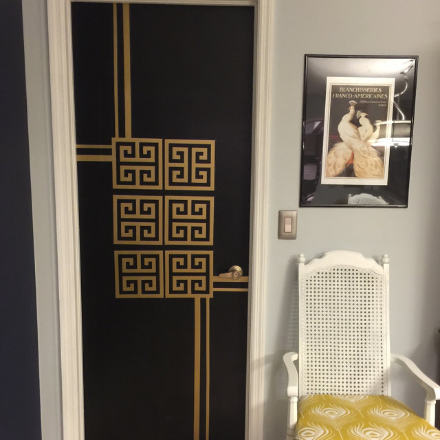 We love it when our customers get extra creative. A huge thank you to Irene for sharing this photo of her completed project using our Greek key wall decals. We created a custom order of stripes for her as well. Shown here in metallic gold.
