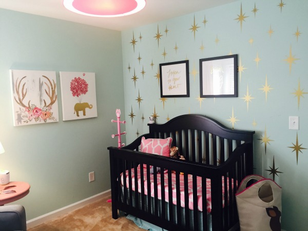 This completed nursery using our Atomic Stars wall decals is an absolute stunner! Thank you Vanessa for sharing.