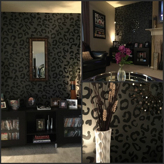 Our leopard wall decals (shown here in black) gives this space a trendy updated and fresh look.