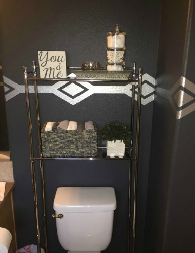 Fun update to this bathroom featuring our diamond row wall decals shown here in metallic silver. Photo credit: Kendra J.