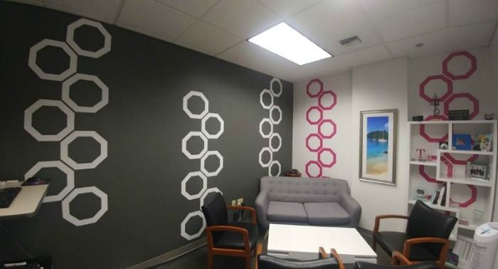 Fun office makeover featuring our hollow honeycomb wall decals in white and pink. Photo courtesy of Ranee S., T-Mobile USA