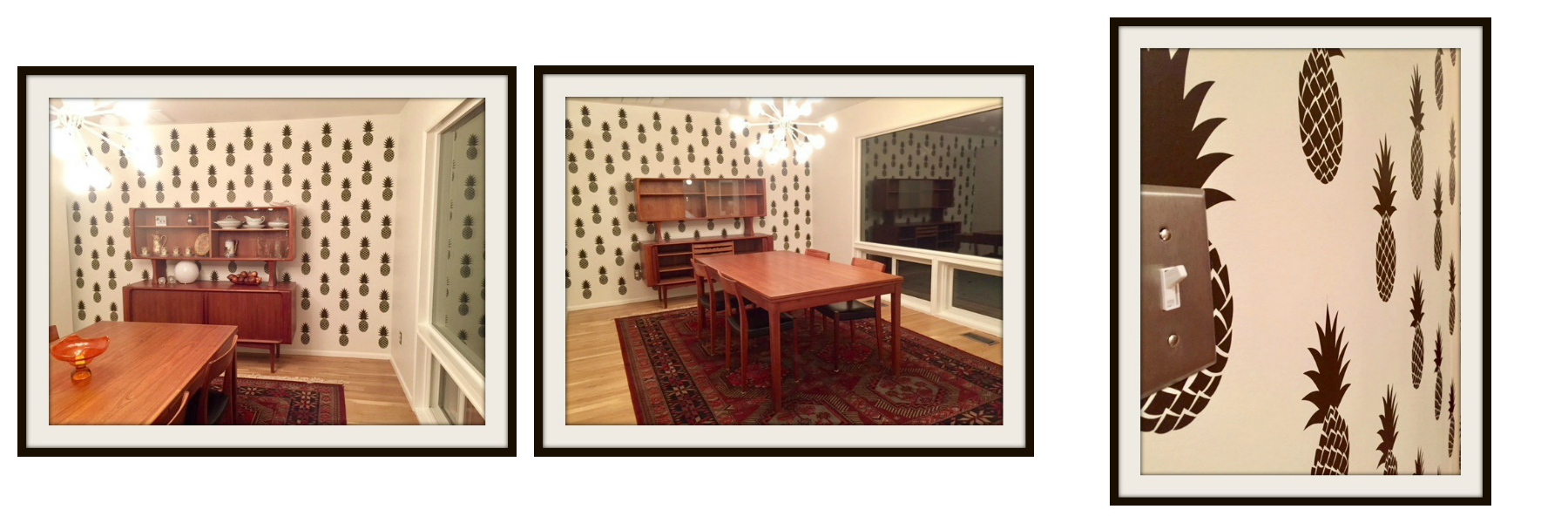 We are in love! This dining room makeover is spot on period correct and features our pineapple wall decals in dark brown. A huge thank you to Mary and Justin K. for sharing photos of their completed project.